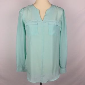 Mossimo Women's Green Long Sleeves Blouse